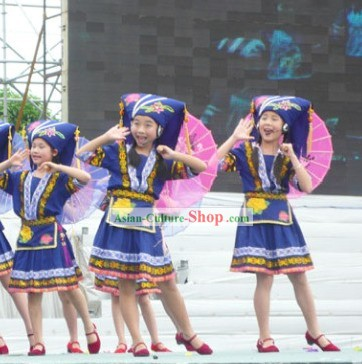 Traditional Chinese Zhuang Minority Hat and Dress Set for Children