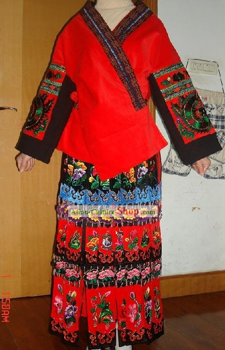 Chinese Miao Minority Embroidered Blouse and Skirt Set