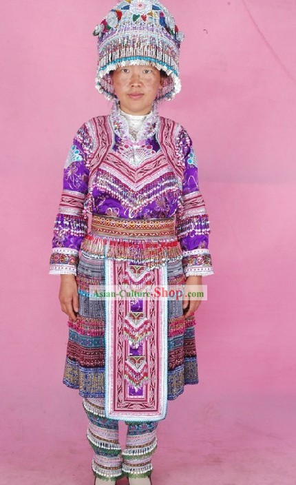 Yunnan Miao Minority Tribe Dress and Accessories Set