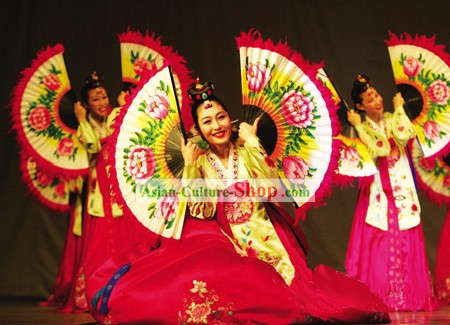 Traditional Korean Fan Dance Costumes Set