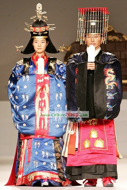 Ancient Korean Emperor and Empress Costumes 2 Sets