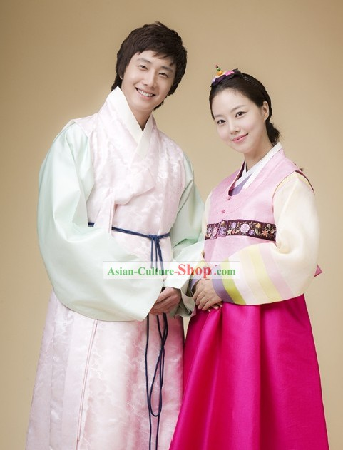 Korean Traditional Hanbok Dresses for Young Couple