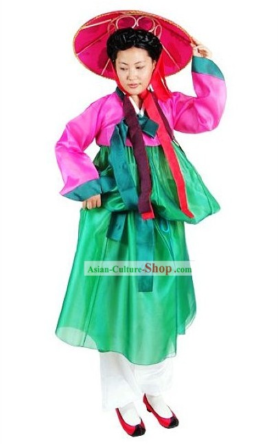 Ancient Korean Dance Costume and Hat for Women