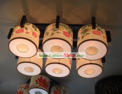 Original Chinese Traditional Painting Large Ceiling Lantern Set