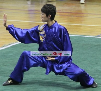 Dragon Playing Ball Silk Wushu Uniform