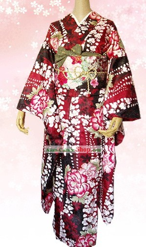 Traditional Japanese Kimono Furisode Complete Set