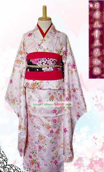 Traditional Japanese Birthday Kimono Set for Teenagers