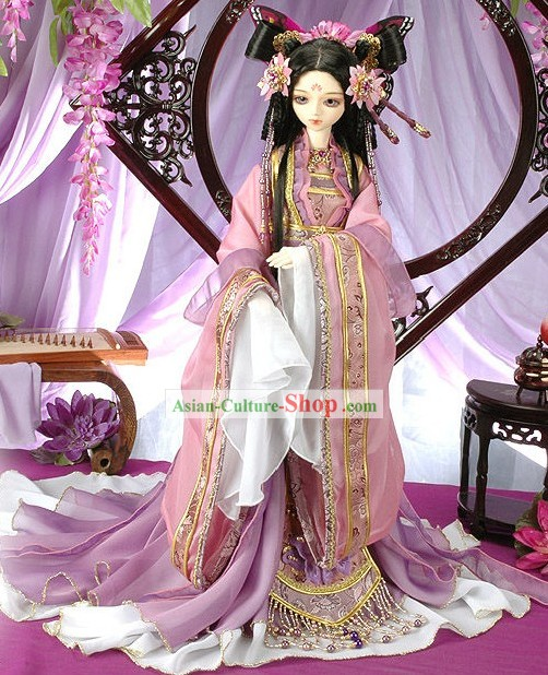 Ancient Chinese Butterfly Princess Costumes and Hair Accessories Complete Set for Adults or Children