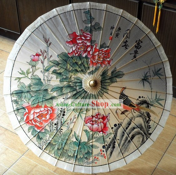 Ancient Chinese Painted Flower Bird Palace Umbrella