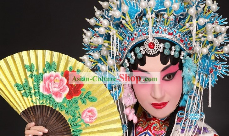Traditional Beijing Opera Peony Golden Fan