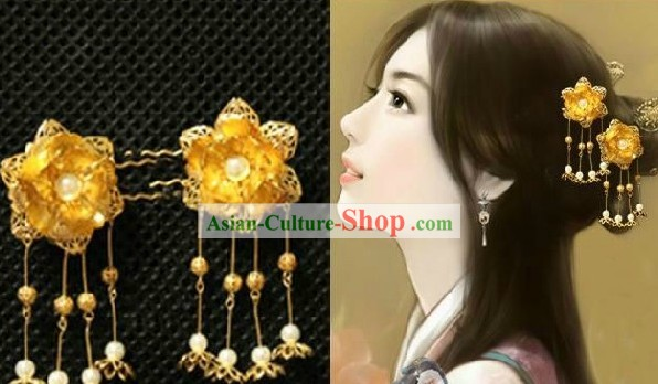 Classic Chinese Handmade Golden Flower Hairpin