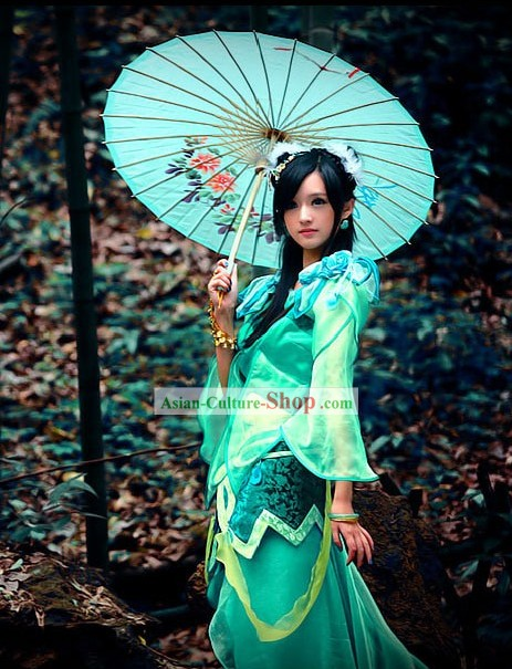 Ancient Chinese Green Fairy Costume and Hair Accessories