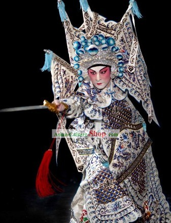 Peking Opera Wusheng Armor Costumes with Flags and Helmet