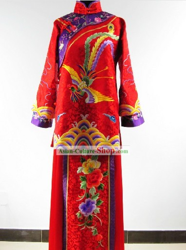 Traditional Chinese Hand Embroidered Wedding Phoenix Dress for Women