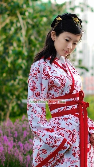 Chinese Classical White and Red Wedding Dress for Girls
