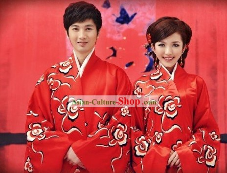 Traditional Chinese Mandarin Wedding Dress 2 Sets for Men and Women