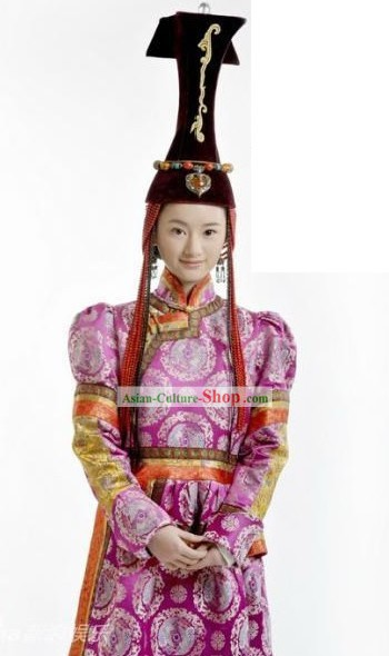 Qing Dynasty Mongolian Princess Robe and Hat for Women