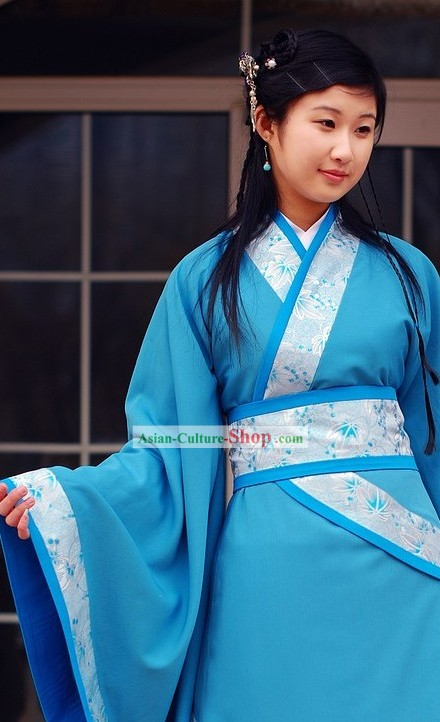 Ancient Chinese Blue Princess Costumes