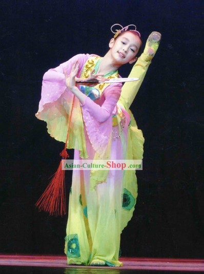Chinese Classic Fan Dance Costume for Kids