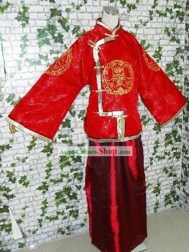 Traditional Chinese Wedding Blouse and Skirt for Bridegrooms