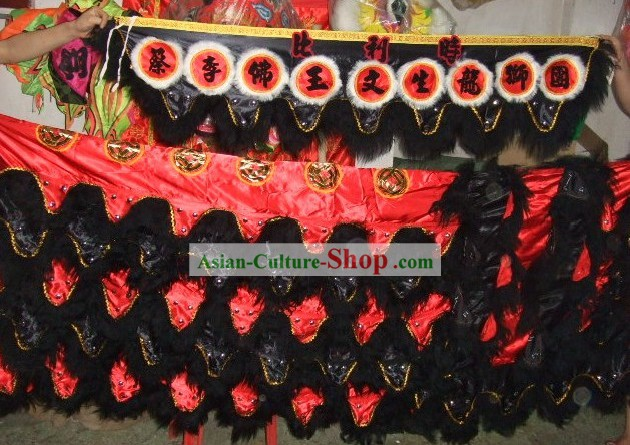Traditional Long Sheep Fur Lion Dance Tail, Pants and Claws Set