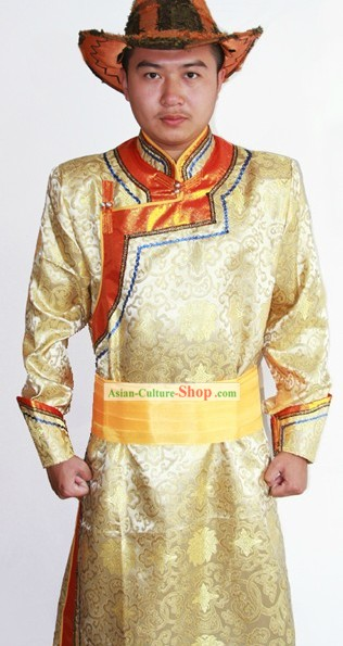 Traditional Mongolian Minority Costumes and Hat for Men