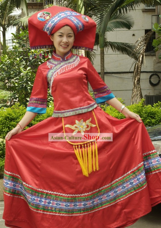 Traditional Chinese Zhuang Minority Clothing and Hat