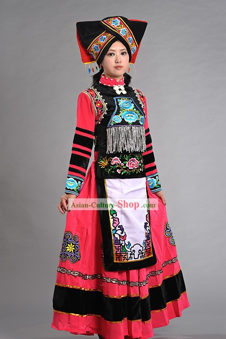 Traditional Yi Ethnic Celebration Outfit for Women