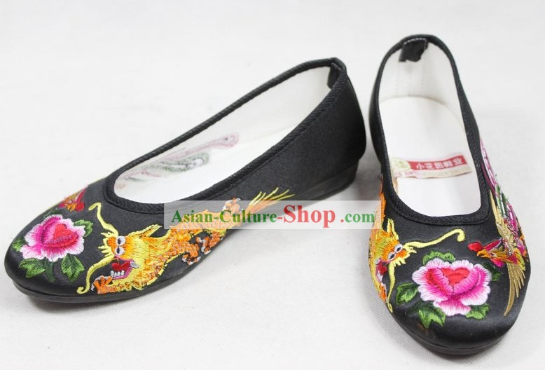 Chinese Classic Hanfu Dragon Phoenix Embroidery Shoes