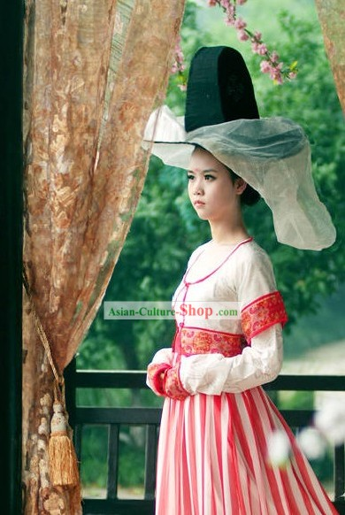 Tang Dynasty Beauty Dress and Hat and Veil Set