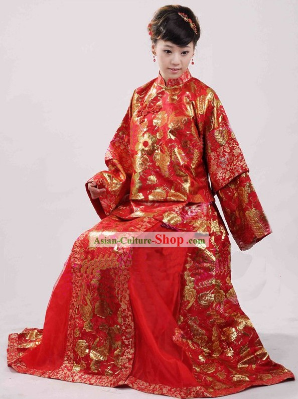 Chinese Classical Red Wedding Dress with Golden Flower