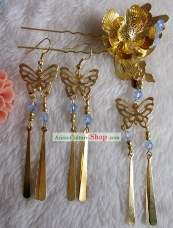 Ancient Style Chinese Hair Accessories and Earrings Set
