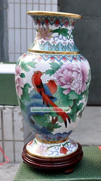 Chinese Classic Cloisonne White Bird and Flower Vase