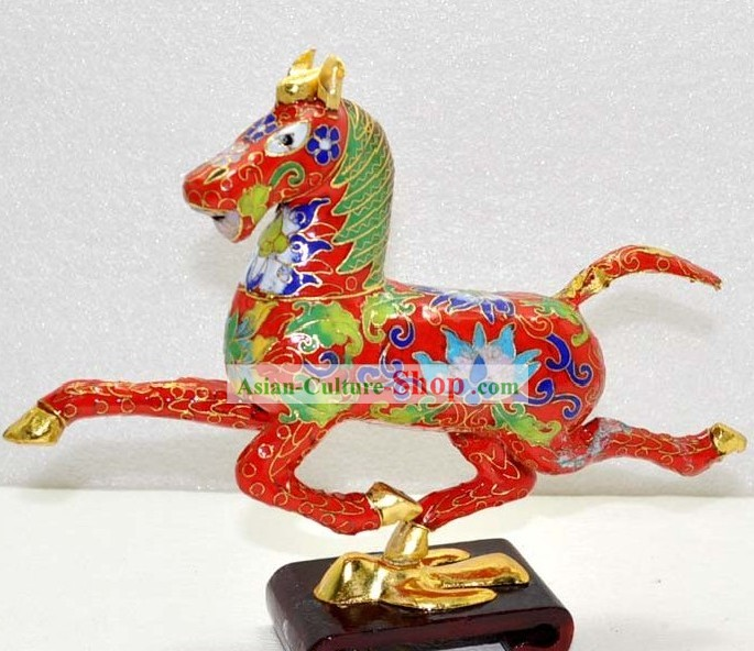 Chinese Classic Cloisonne Red Running Horse