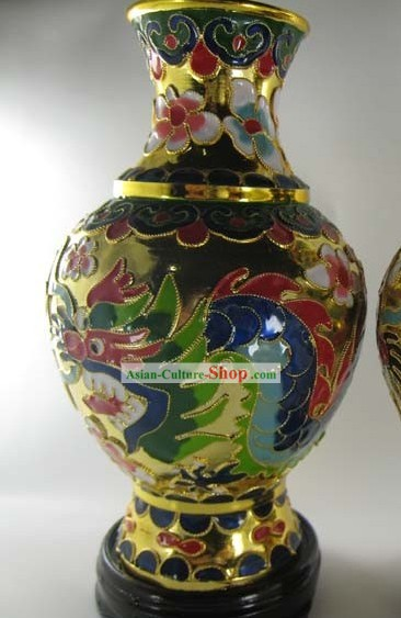 Chinese Classic Cloisonne Dragon Vase