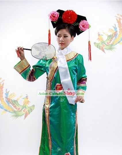 Qing Dynasty Princess Outfit and Manchu Hat