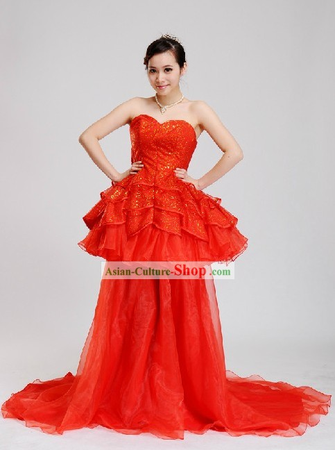 Traditional Chinese Romantic Red Wedding Evening Wear for Women