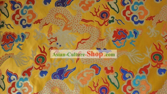 Chinese Yellow Dragon Brocade Fabric