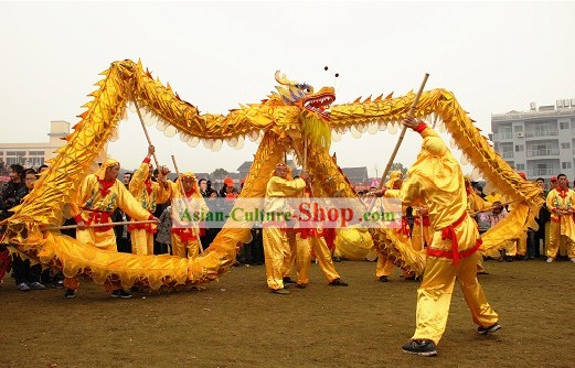 Handmade Shinning Golden Dragon Dance Costumes Complete Set