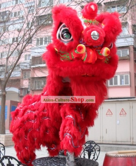 Friendly Happy Festival Celebration Ceremony Red Sheep Fur Lion Dance Costume Complete Set