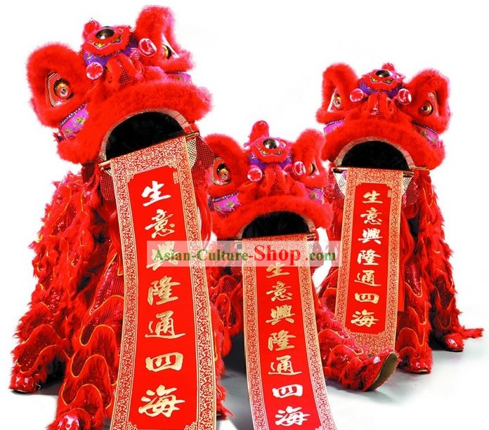 Traditional Red Lion Dance Costumes Complete Set
