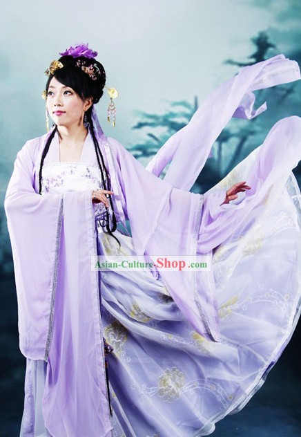 Ancient Chinese Tang Dynasty Purple Dress for Women
