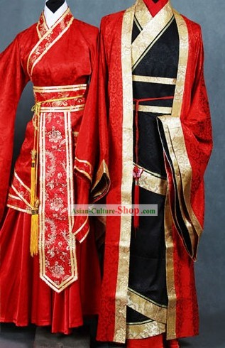 Chinese Classical Lucky Red Wedding Dress 2 Sets for Bride and Bridegroom