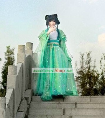 Ancient Chinese Green Lady Costume Complete Set