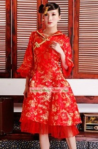 Traditional Chinese Red Long Sleeve Phoenix Wedding Skirt