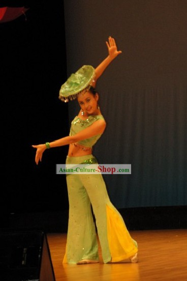 Lotus Leaf Folk Dance Costume and Hat Set