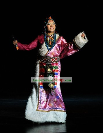 Chinese Tibetan Singer Clothing and Hat Set