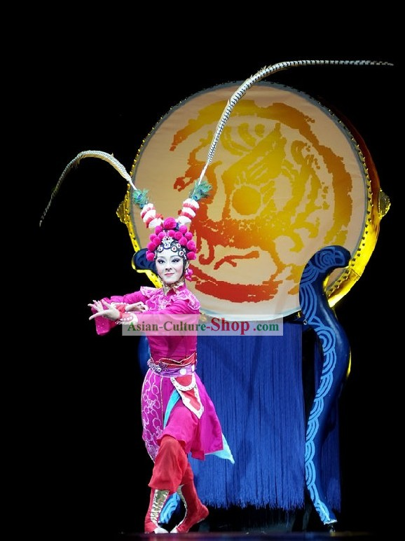 Chinese Peking Opera Dance Costume and Long Feather Hat for Women