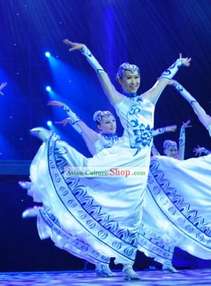 Chinese Classical White and Blue Dance Costume Set