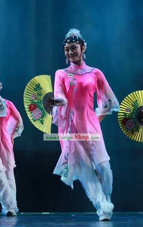 Chinese Classical Fan Dancing Costumes Set for Women